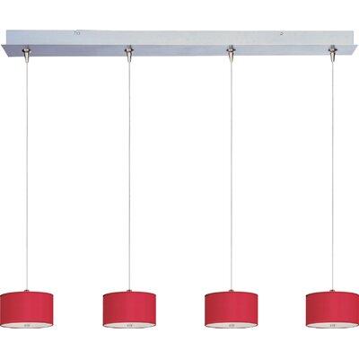 Denning 4-Light Drum Shade Kitchen Island Pendant Shade Color: Crimson Silk