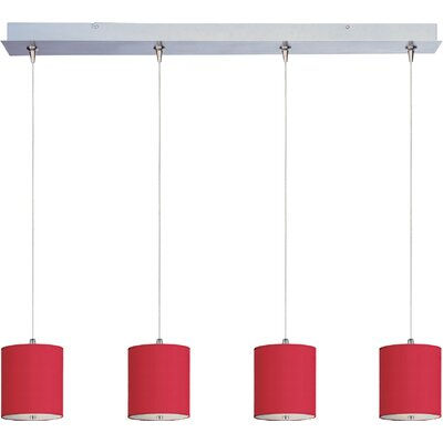 Denning 4-Light Kitchen Island Pendant Shade Color: Crimson Silk