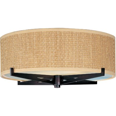 Denning 3-Light Fabric Shade Flush Mount Color: Oil Rubbed Bronze, Shade Color: Grass Cloth