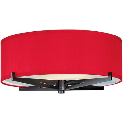 Denning 3-Light Fabric Shade Flush Mount Finish: Oil Rubbed Bronze, Shade Color: Crimson Silk