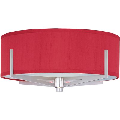 Denning 3-Light Fabric Shade Flush Mount Finish: Satin Nickel, Shade Color: Crimson Silk