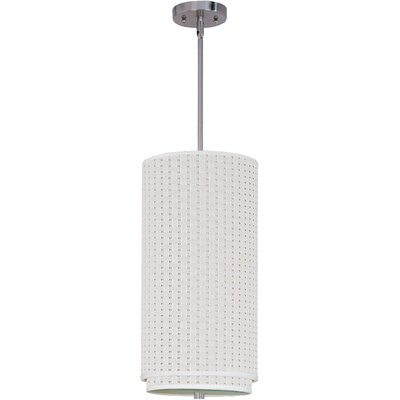 Denning 1-Light Mini Pendant Color: Satin Nickel, Glass Color: White Weave