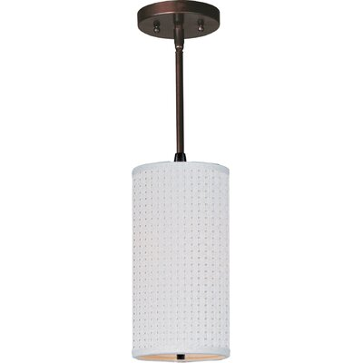 Denning 1-Light Cylindrical Shade Metal Mini Pendant Finish: Oil Rubbed Bronze, Glass Color: White Weave