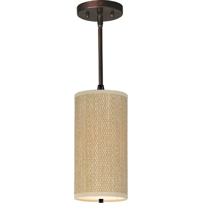 Denning 1-Light Cylindrical Shade Metal Mini Pendant Finish: Oil Rubbed Bronze, Glass Color: White Lava