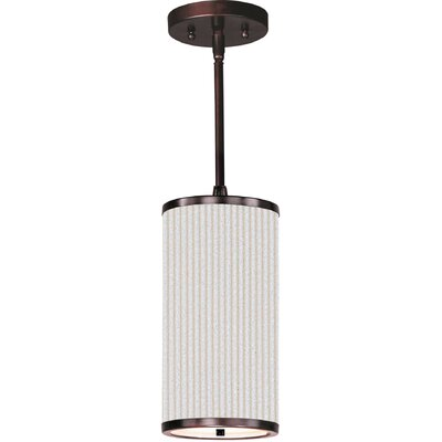 Denning 1-Light Cylindrical Shade Metal Mini Pendant Finish: Oil Rubbed Bronze, Glass Color: Amber Lava