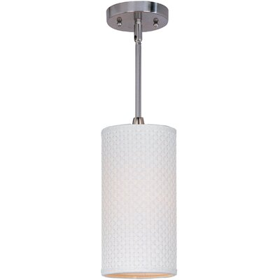 Denning 1-Light Cylindrical Shade Metal Mini Pendant Glass Color: White Weave, Finish: Satin Nickel