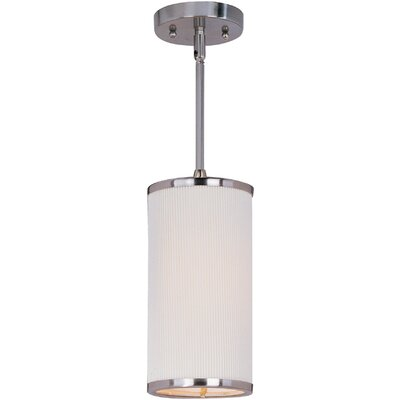 Denning 1-Light Cylindrical Shade Metal Mini Pendant Finish: Satin Nickel, Glass Color: Amber Lava