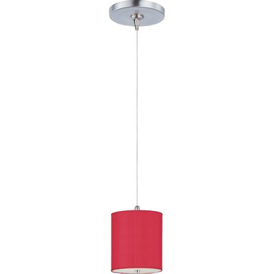 Denning 1-Light Drum Glass Shade Mini Pendant Size: 5.5 H x 6.5 W, Glass Color: Crimson Silk