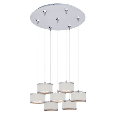Denning 7-Light Drum Shade Cascade Pendant Shade Color: White