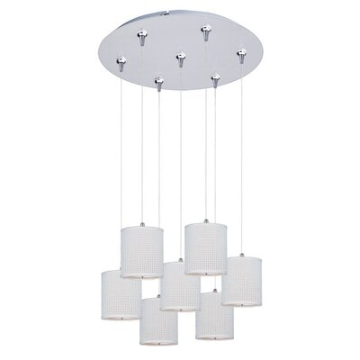 Denning 7-Light Cylindrical Shade Cascade Pendant