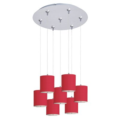 Denning 7-Light Cascade Pendant Shade Color: Red
