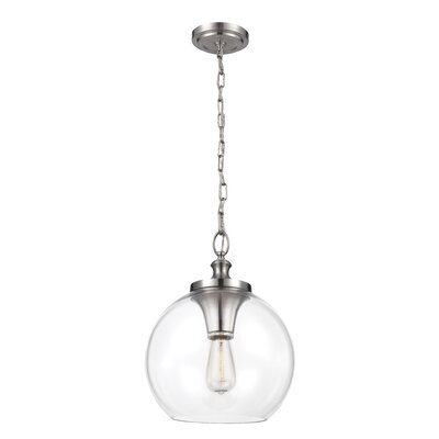 Asellus 1-Light Globe Pendant Size: 12.13 H x 8.5 W x 8.5 D, Finish: Brushed Steel