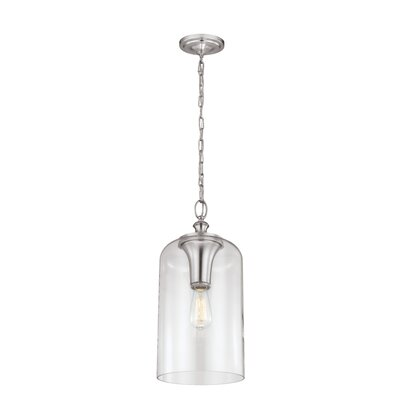 Nolan 1-Light Foyer Pendant Finish: Brushed Steel, Size: 13.38 H x 6.5 W x 6.5 D