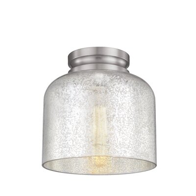 Nolan 1-Light Glass Shade Flush Mount Finish: Brushed Steel