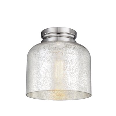Nolan 1-Light Glass Shade Flush Mount Finish: Polished Nickel