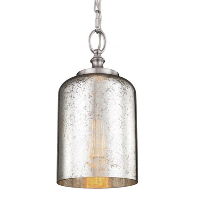 Nolan 1-Light Mini Pendant Finish: Brushed Steel, Shade Color: Silver Mercury Plating, Bulb Type: Incandescent