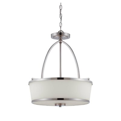 Neapolis 3-Light Drum Pendant Finish: Satin Nickel