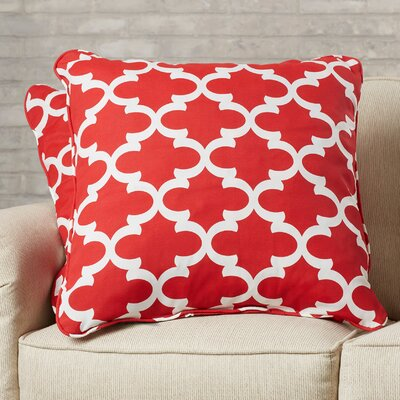 Lucian Indoor/Outdoor Throw Pillow Size: 18 H x 18 W, Fabric: Scalloped Red