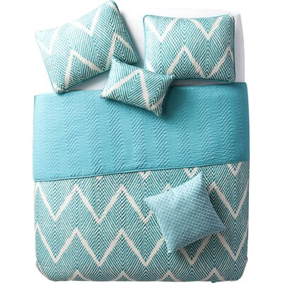 Kegley 5 Piece Quilt Set Color: Blue, Size: King
