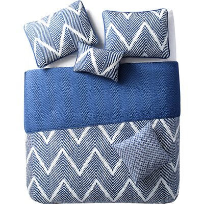 Kegley 5 Piece Quilt Set Color: Navy, Size: Full / Queen