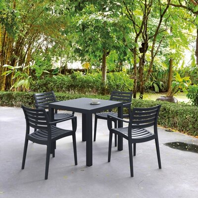 Nikoleta 5 Piece Dining Set Finish: Black