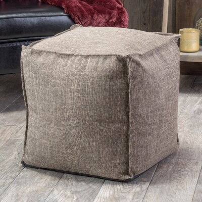 Linen Cube Ottoman Color: Brown