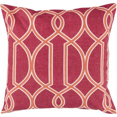 Georgios Intersecting Lines Throw Pillow Size: 22 H x 22 W x 4 D, Color: Red Raspberry / Orange-Red / Peach Cream, Filler: Down