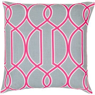 Georgios Intersecting Lines Throw Pillow Size: 22 H x 22 W x 4 D, Color: Silvered Gray / White / Bright Pink, Filler: Down