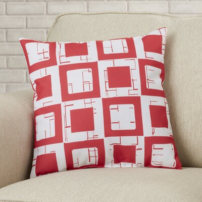 Geometric Decorative Throw Pillow Size: 18 H x 18 W, Color: Red