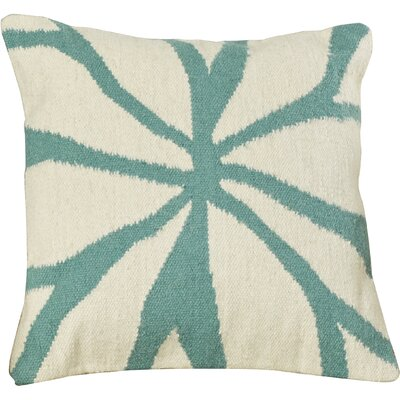 Evaristus Throw Pillow Color: Ivory/Turquoise, Size: 22 H x 22 W x 4 D, Filler: Down