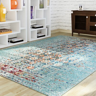 Artemis Aqua Area Rug by Mercury Row
