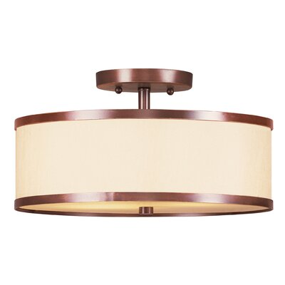Bisbee 2-Light Semi Flush Mount Size: 11 W x 11 D, Finish: Brushed Nickel