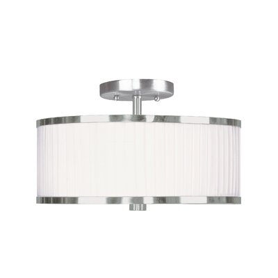 Cana Drum/Cylinder Shade Semi Flush Mount Size: 11 W x 11 D