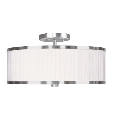 Cana Drum/Cylinder Shade Semi Flush Mount Size: 15 W x 15 D