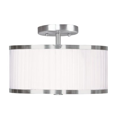Cana Drum/Cylinder Shade Semi Flush Mount Size: 13 W x 13 D