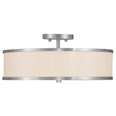 Cana 3-Light Semi Flush Mount Finish: Brushed Nickel, Shade Material: White Hardback