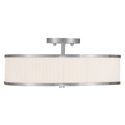 Cana 3-Light Semi Flush Mount Finish: Brushed Nickel, Shade Material: White Pleated
