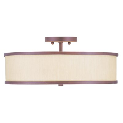 Cana 3-Light Semi Flush Mount Finish: Vintage Bronze, Shade Material: Champagne Hardback