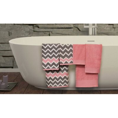 Nebula 6 Piece Superior Combed Cotton Towel Set Color: Gray / Pink