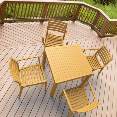 Melissus 5 Piece Dining Set Finish: Teak Brown