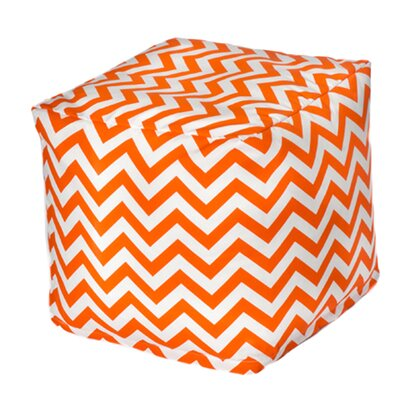 Nehemiah Chevron Pouf Ottoman Upholstery: Orange