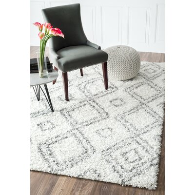 Baxley Manning White Area Rug Rug Size: 4 x 6