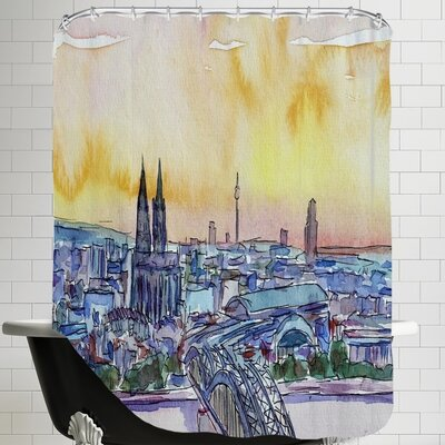 Cologne Deutz Bridge Sunset Shower Curtain
