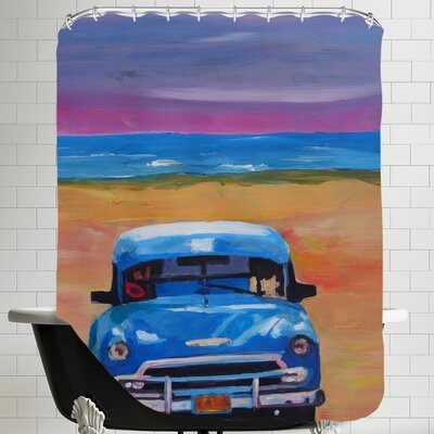 Magnificient Blue Old-timer in Cuba at Beach Shower Curtain