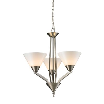 Abrielle 3-Light Shaded Chandelier Finish: Brushed Nickel