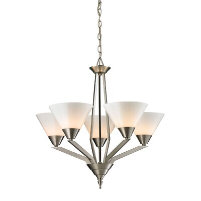 Corinna 5-Light Shaded Chandelier Finish: Brushed Nickel