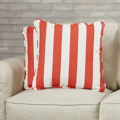 Luciano Indoor/Outdoor Throw Pillow Fabric: Striped Coral, Size: 18 H x 18 W