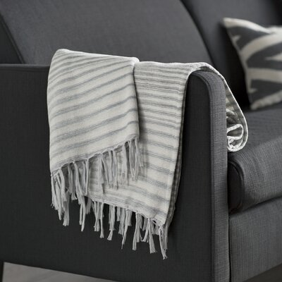 Zenon Cotton Throw Blanket Color: Gray
