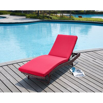 Rebecca Patio Lounger with Cushion Fabric: Red