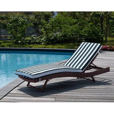 Rebecca Patio Lounger with Cushion Fabric: Green Nautical
